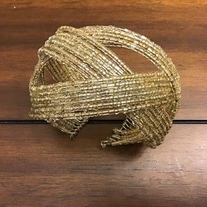 Jewelry - Silver and clear beaded wire cuff bracelet